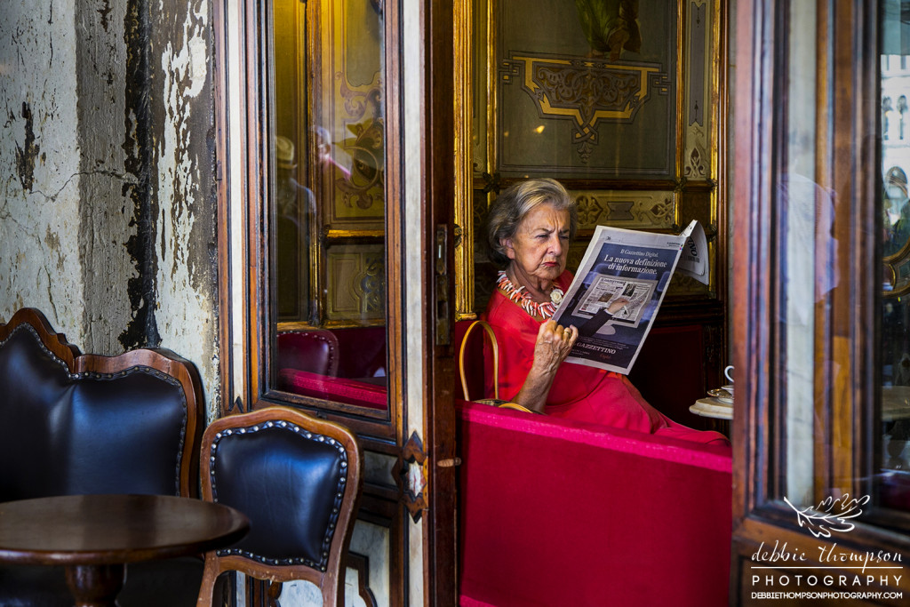 A local lady in a tea room