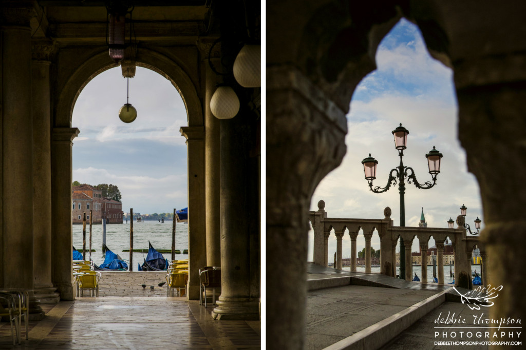 Lamps, archways, and sea